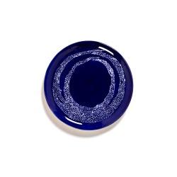 Serax Feast Ottolenghi - Assiettes plates grès 26.5cm Tourbillon de points Lapis Lazuli/Blanc