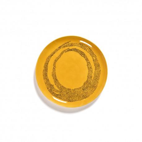 Serax Feast Ottolenghi - Assiette plate grès 26.5cm Tourbillon de points Jaune/Noir