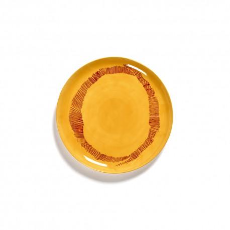 Serax Feast Ottolenghi - Assiette plate grès 26.5cm Tourbillon Jaune/Rouge