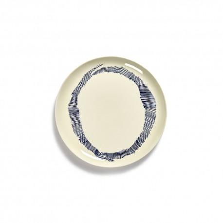 Serax Feast Ottolenghi - Assiette plate grès 26.5cm Tourbillon Blanc/Bleu