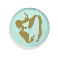Serax - Plat rond grès 35cm Poivron Azur/Or Feast Ottolenghi