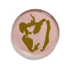 Serax - Plat rond grès 35cm Poivron Rose/Or Feast Ottolenghi