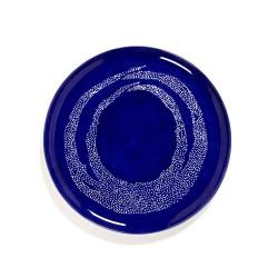 Serax - Plat rond grès 35cm Tourbillon de points Lapis Lazuli/Blanc Feast Ottolenghi