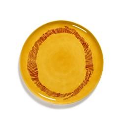 Serax - Plat rond grès 35cm Tourbillon Jaune/Rouge Feast Ottolenghi