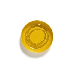 Serax Feast Ottolenghi - Assiette pasta grès 22cm Tourbillon de points Jaune/Noir