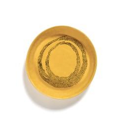Feast Ottolenghi - Plat rond creux grès 30cm Tourbillon de points Jaune/Noir