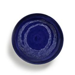 Feast Ottolenghi - Plat rond creux grès 36cm Tourbillon de points Lapis Lazuli/Blanc