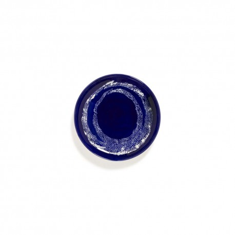 Feast Ottolenghi - Assiette dessert grès 19cm Tourbillon de points Lapis Lazuli/Blanc