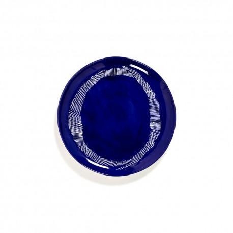 Feast Ottolenghi - Assiette plate grès 26.5cm Tourbillon de traits Lapis Lazuli/Blanc