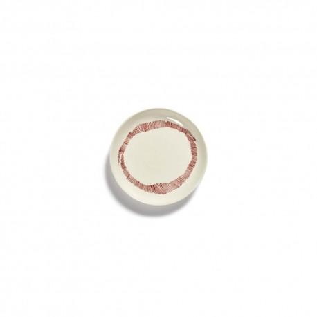 Serax Feast Ottolenghi - Assiette Tapas grès 16cm Tourbillon Blanc/Rouge