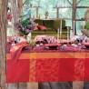Nappe enduite sur mesure Mille Folk Cranberry laize 180cm, Garnier-Thiébaut