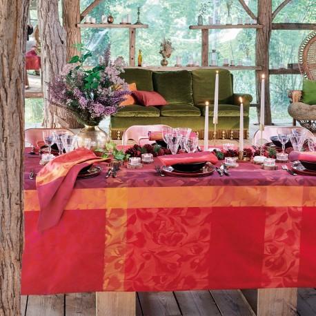 Coton enduit Mille Folk Cranberry laize 180cm, Garnier-Thiébaut