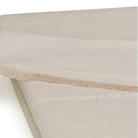 Nappe nomade coton et lin Slow Life Sable 110x180cm, Le Jacquard Français