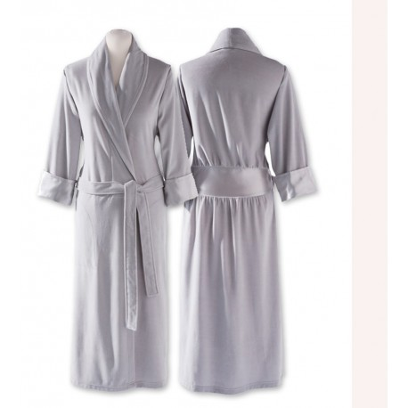 peignoir femme robe de chambre satin gris perle qualit luxe. Black Bedroom Furniture Sets. Home Design Ideas
