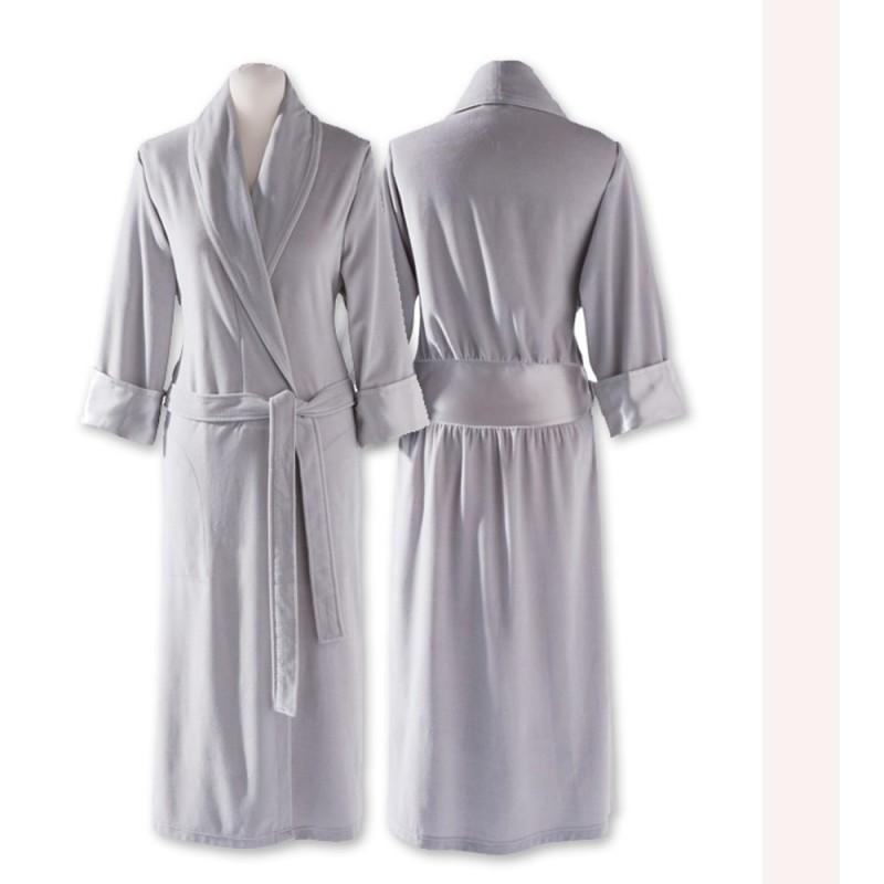 Peignoir femme, robe de chambre, satin, gris perle, qualité, luxe