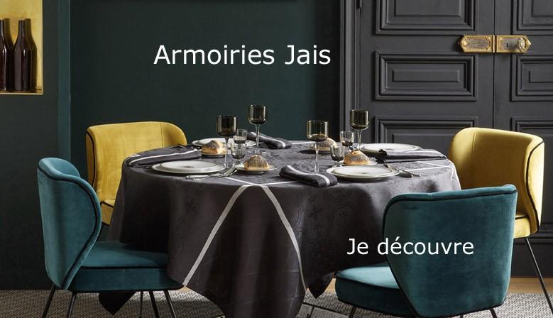 Nappe de réception pur lin Armoiries Jais, Le Jacquard Français