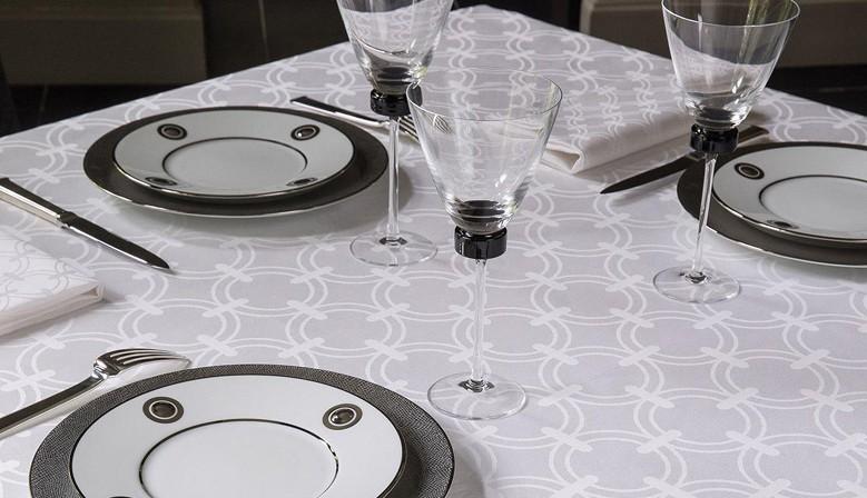 Nappe de table réception Anneaux Blanc, Le Jacquard Français